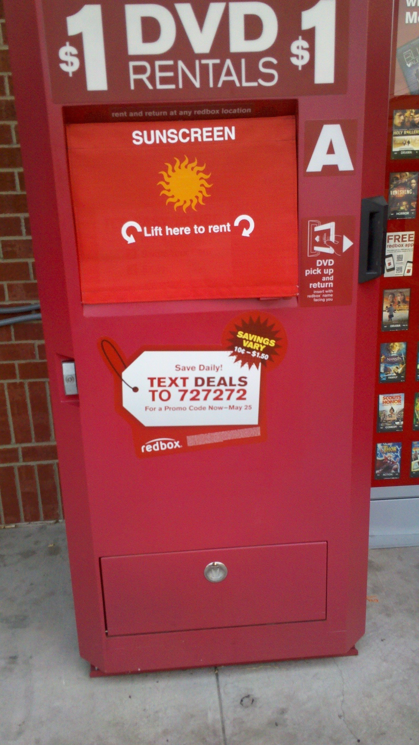 Outdoor kiosk sunshield example Redbox