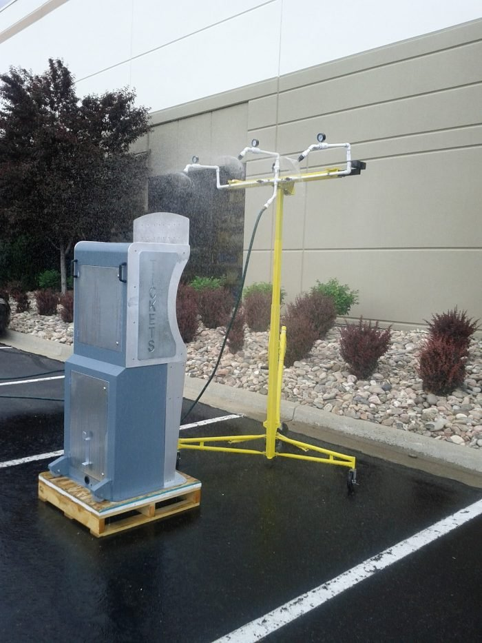 Outdoor kiosk testing for water and rain